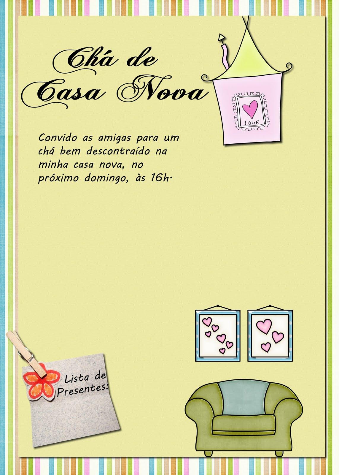 Arte Feita Para Convite De Ch   De Casa Nova Para Minha Amiga Grace